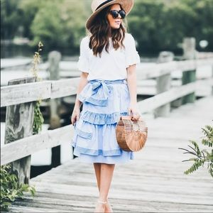 ASOS ruffled tiered tie waist striped midi skirt